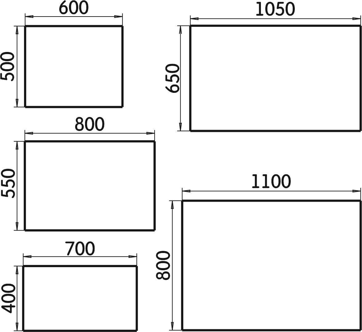 Размеры стандартных зеркал с подсветкой