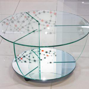 Круглый журнальный стол с зеркалом